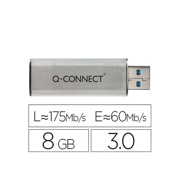 Q-Connect® Silver/Black USB 3.0 Slider Flash Drive 8GB 43202005