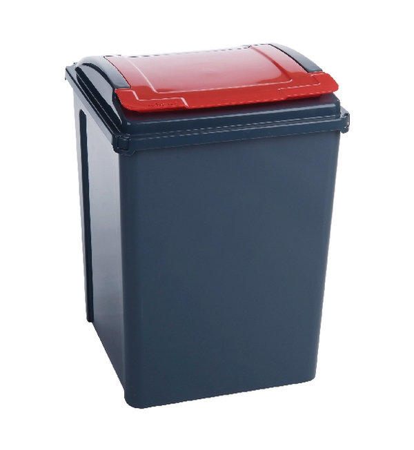 VFM Recycling Bin With Lid Red 50L 384289