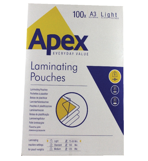 Fellowes Apex Laminating Pouch A3 Light Duty Clear Pk 100 6001901
