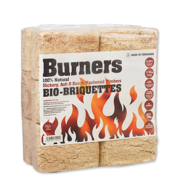 10/12kg Sleeve Burners Hardwood Briquettes, Pack of 12 Blocks