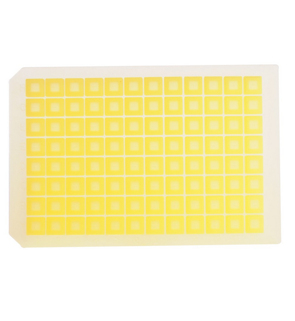 Yellow Cut Silicone 96 Square Well Mate Microplate Cover with Sprayed-On PTFE Barrier, Ethylene Vin