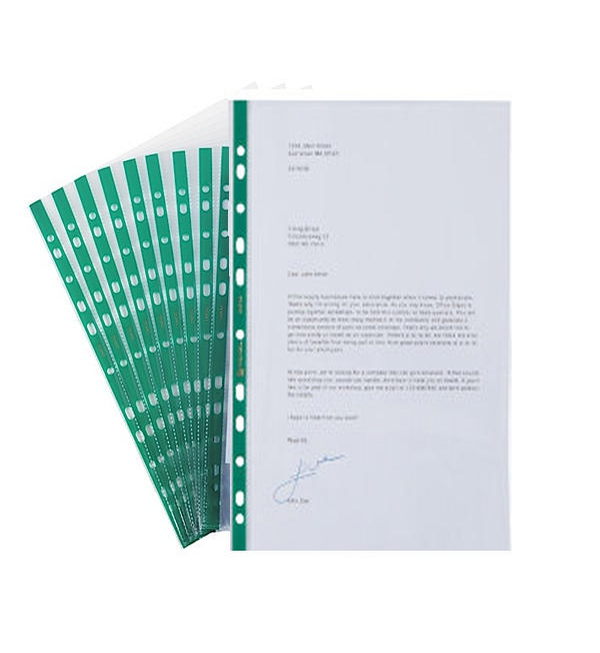 Q-Connect® Clear Glass Punched Pocket, Green Strip, Pack of 100