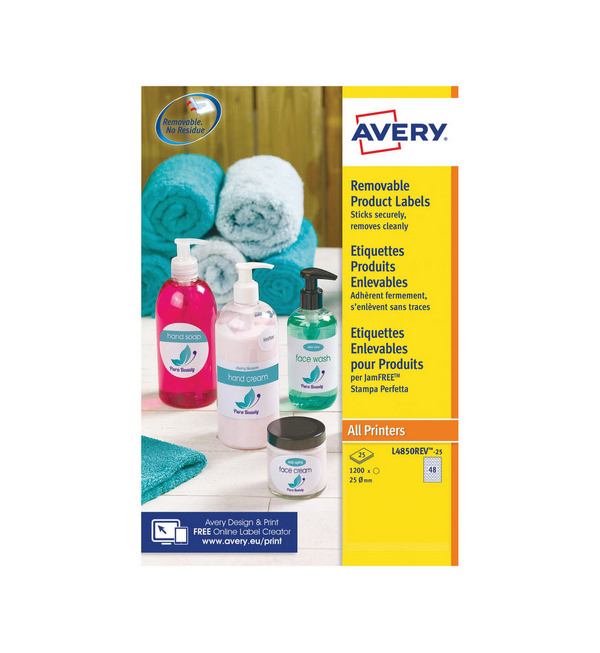 Avery® Removable Labels Round 25mm, White