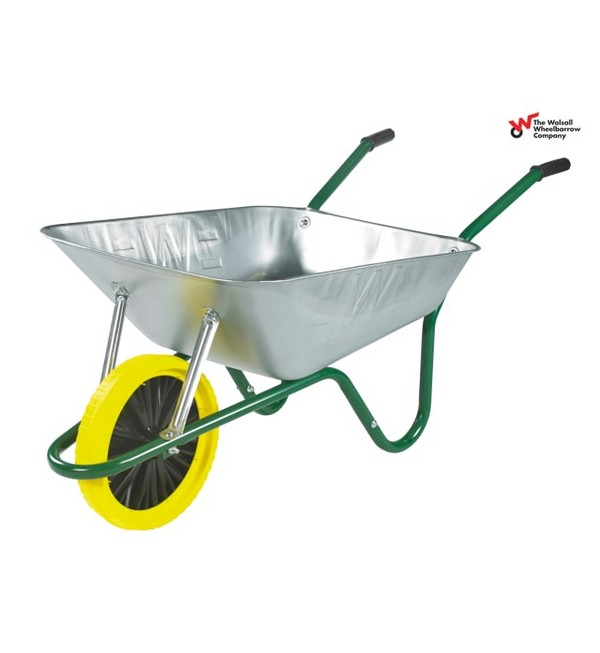Walsall Boxed Easi-Load Wheelbarrow, Galvanised, Puncture Proof Wheel, 85L