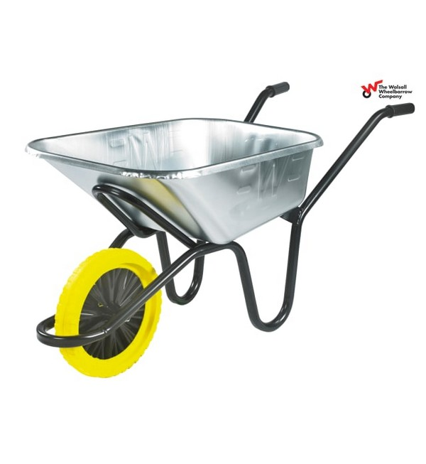 Walsall Invincible Wheelbarrow, Galvanised, Puncture Proof Wheel, 120L