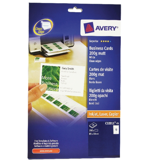 Avery® Matte White Multipurpose Business Cards, 85mm x 54mm