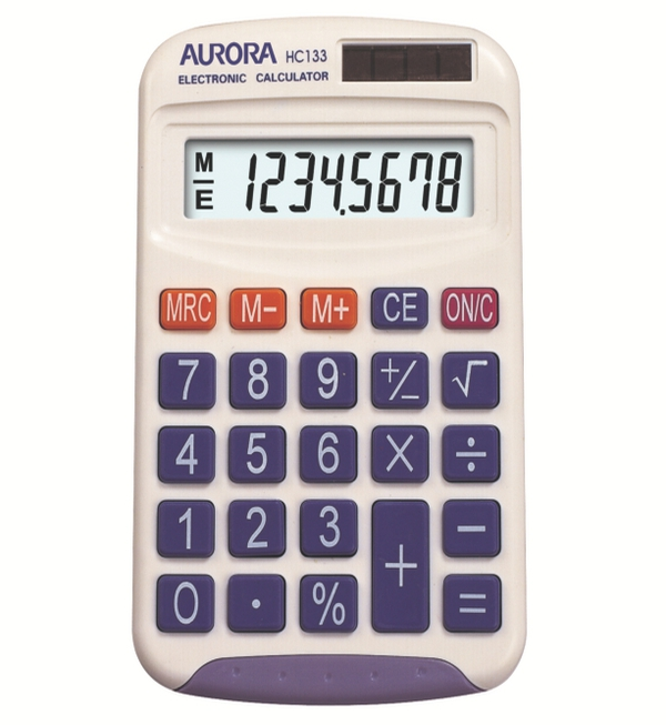 Aurora® HC133 Pocket Calculator, 8 Digit, White