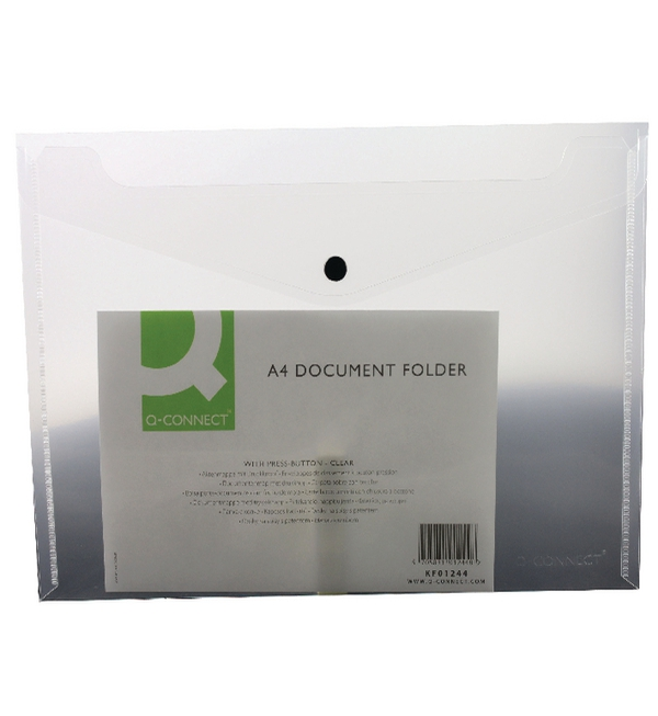 Q-Connect® Clear A4 Plastic Document Folder with Popper