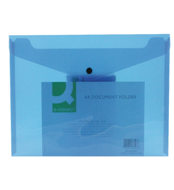 Q-Connect® Polypropylene A4 Document Folder, Blue