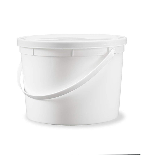 Bucket HDPE with Lid and Handle, White, 60L