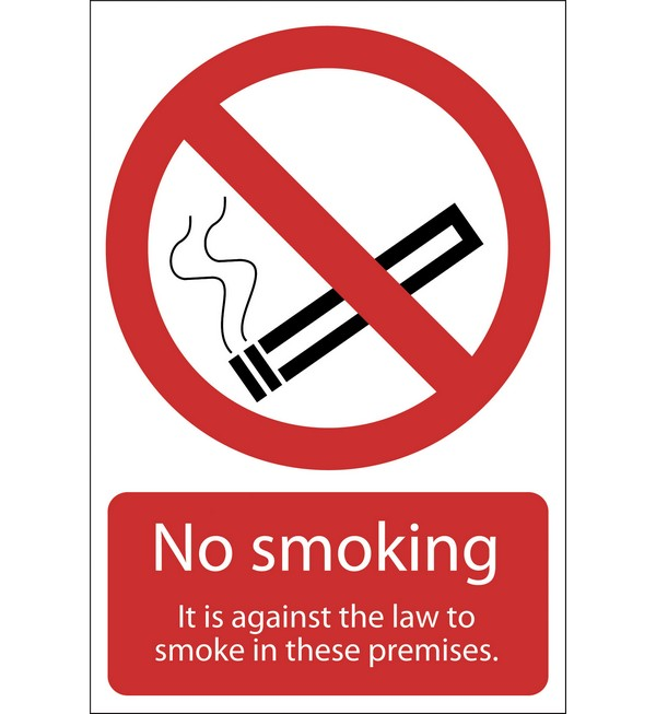 Draper® 'Smoking Against The Law' Prohibition Sign