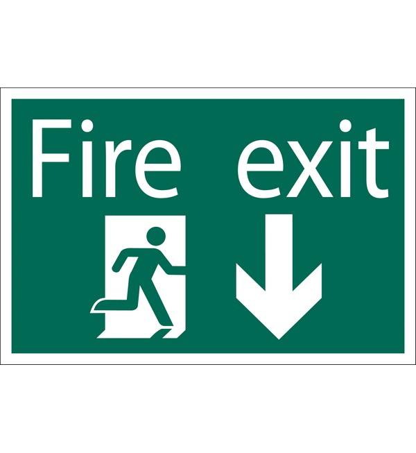 Draper® 'Fire Exit Arrow Down' Safety Sign