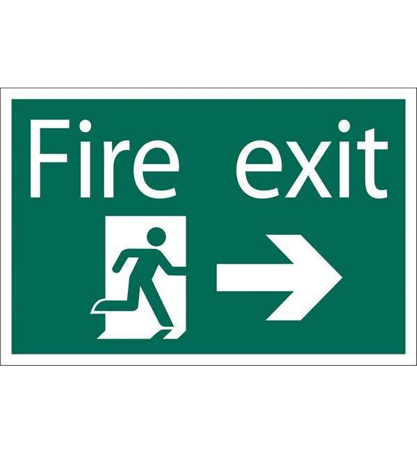 Draper® 'Fire Exit Arrow Right' Safety Sign