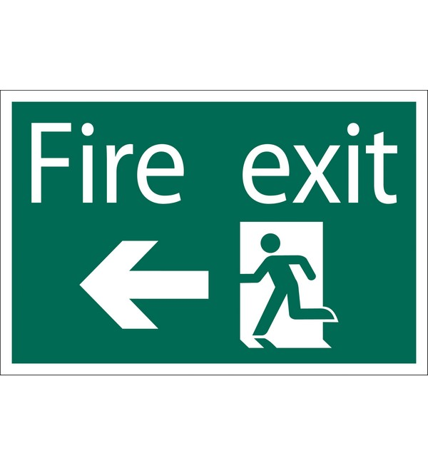Draper® 'Fire Exit Arrow Left' Safety Sign
