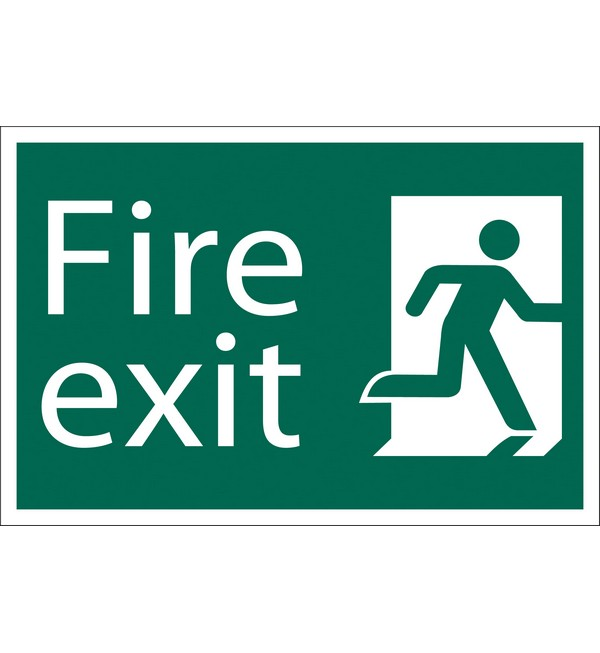 Draper® 'Fire Exit Right' Safety Sign