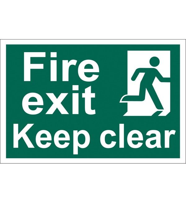 Draper® 'Fire Exit Keep Clear' Safety Sign