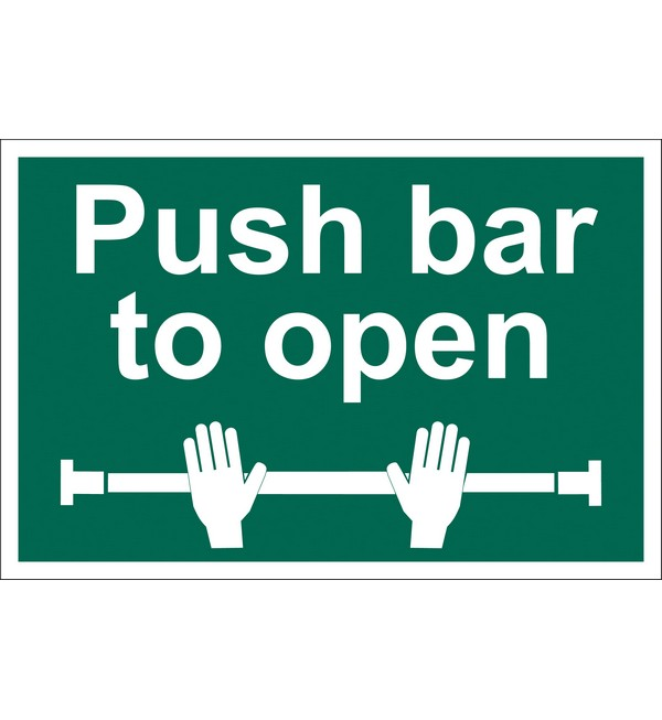 Draper® 'Push Bar to Open' Safety Sign